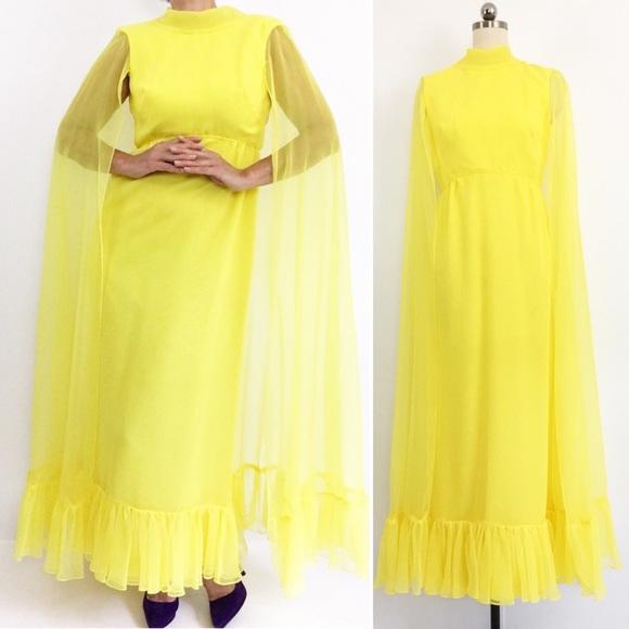 Vintage Dresses & Skirts - Vintage Lemon Ruffled Maxidress W/Chiffon Cape